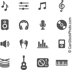 Music Icons - Music icons. Simple flat vector icons set on...