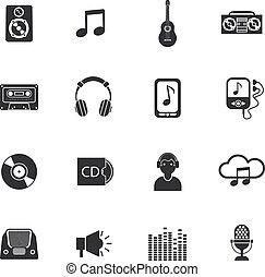 Music icons set mobile black