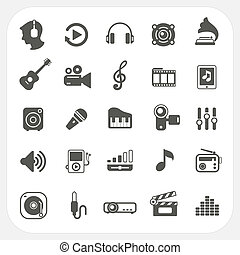 Music icons set on white background, EPS10, Don't use transparency.