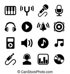 Music Icons Set on White Background. .