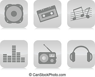 Music icons set vector.