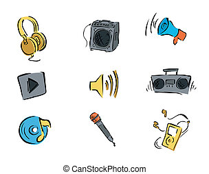 Music Icons with Clipping Path