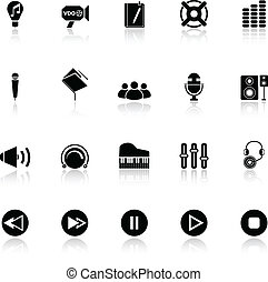 Music icons with reflect on white background