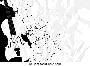 Music illustration - Vector illustration of violin on white...