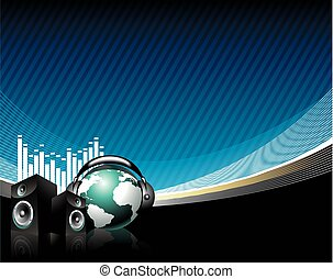 music illustration with speaker and globe