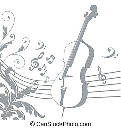music - grey silhouette of a violin with a pentagram and...