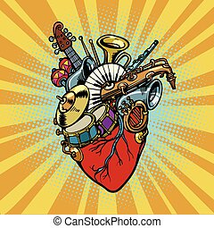 Music in the heart, musical orchestral instruments