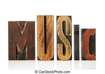 Music in vintage text
