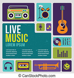 Music infographic and icon set of instruments and data,...