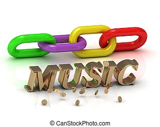 MUSIC- inscription of gold letters and chain - MUSIC -...