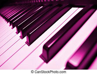Music instrument - piano keyboard closeup view