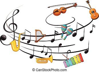 Music instrument with music note