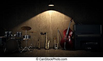 music instruments. 3D Rendering