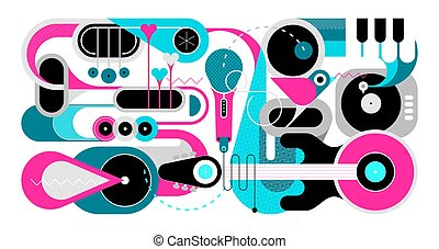 Music Instruments and Singing Bird vector illustration