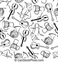 Music instruments art seamless pattern