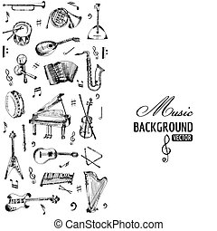 Music Instruments Background - hand drawn - vector