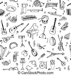 Music Instruments Background - Seamless Pattern - vector