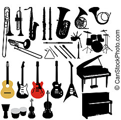 many illustrated musical instruments with high detail