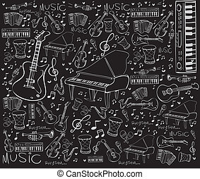 Music Instruments Doodle - Vector illustration of music ...