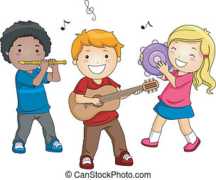 Music Instruments - Illustration of Kids Playing Different...