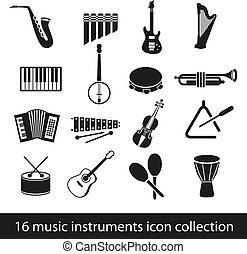 16 music instruments icon collection