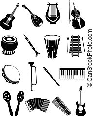 Music instruments icons set