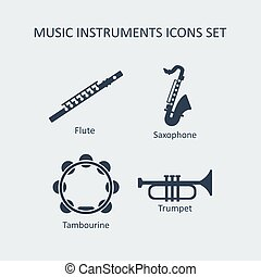 Music instruments icons set. Vector