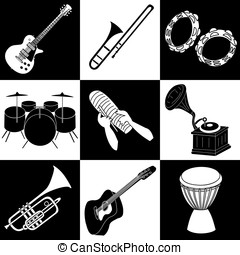 Music instruments - Musical instruments cliparts in black...