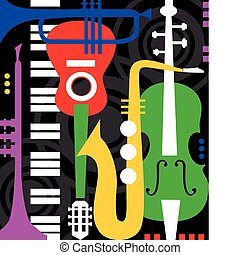 Music instruments on black - Abstract colored music...