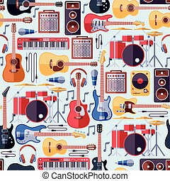 Music instruments seamless vector background