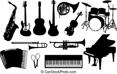 music instruments set isolated