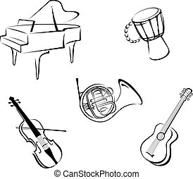 Music instruments - Set of musical instruments for music...