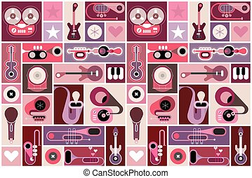 Music Instruments Vector Collage