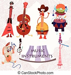 Music Instruments with rabbit: Guitar, contrabass, drums, flute, and banjo. Cute vector set for party.(All objects are isolated groups so you can move and separate them)