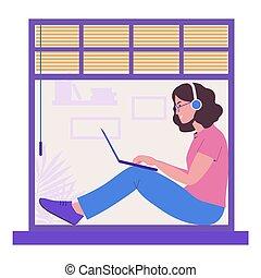 music., isolation., 聊天, 女孩, 套間, 自由職業者, 听, 工作, laptop., 婦女, 插圖, 遙遠, 窗台, 坐, freelance., 朋友