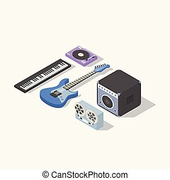 Music isometric concept vector illustration