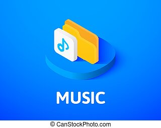Music isometric icon, isolated on color background