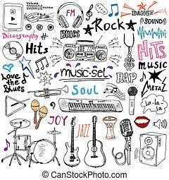 Music items doodle icons set sketch