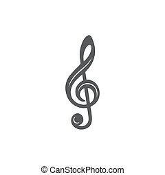 Music key icon on white background