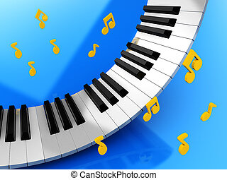 Music keys and golden notes over blue background