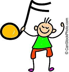 boy holding musical symbol - toddler art series