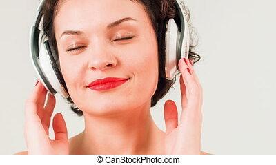 music., kobieta, młody, słuchający, pociągający