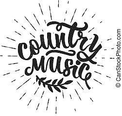 music., kraj, typografia, ręka, typography., pociągnięty, poster.vector