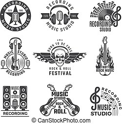 Music labels. Microphone big speaker drums and headphones vector pictures and logos for music records studio