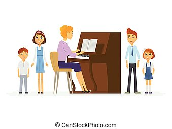Music lesson at school - modern cartoon people characters...
