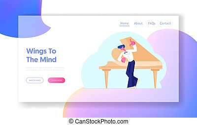 Music Lesson, Training Practicing Website Landing Page. Young Man Musician or Music Teacher Stand at Grand Piano Preparing for Concert Explain Class Web Page Banner. Cartoon Flat Vector Illustration