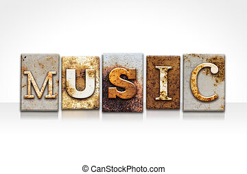 Music Letterpress Concept Isolated on White