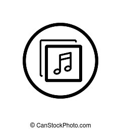 Music line icon in a cirlce and a white background. Vector illustration
