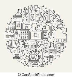 Music Line Icons Circle