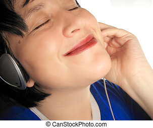 music listening - woman listens to tunes